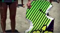 Surfboard attacked by shark