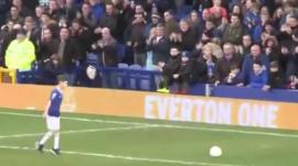 George on the pitch at Goodison Park