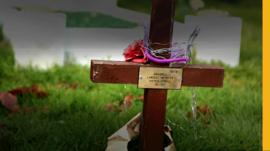 Cross on Max Spiers's grave