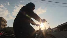 Amna Suleiman cycling in Gaza