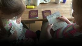 Children holding passports