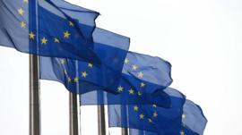 EU flags waving
