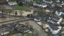 Aerial footage of flooding