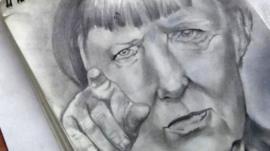 Sketch of Angela Merkel