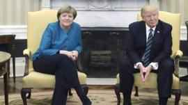 US President Donald Trump has met German Chancellor Angela Merkel for the first time.