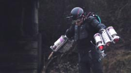 Richard Browning flying in a jet engine suit