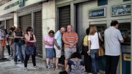 Queue outside cash machine