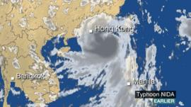 BBC Weather satellite of Typhoon Nida as it approaches Hong Kong
