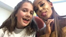 Ariana Grande visiting injured fans