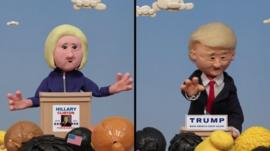 Hillary Clinton and Donald Trump graphic