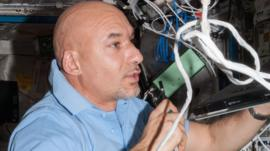 Luca Parmitano working in the Columbus laboratory of the International Space Station