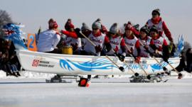 Ice dragon boat racing
