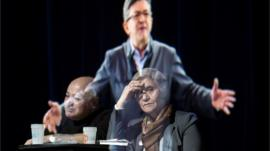 Jean-Luc Melenchon appears as hologram in Paris, 5 February
