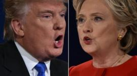 Republican nominee Donald Trump and Democratic nominee Hillary Clinton during the first presidential debate