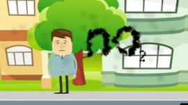 Cartoon-style illustration depicts man surrounded by pollution