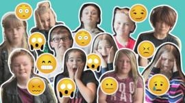 Children making emoji faces
