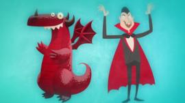 Dragon and vampire graphic