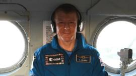 Tim Peake in a recovery helicopter