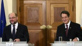 Cypriot President Nicos Anastasiades (R) and European Parliament President Martin Schulz holding a press conference after a meeting in the capital Nicosia.