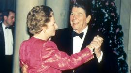Regan and Thatcher dancing 1988