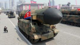 Missiles are shown during a military parade in Pyongyang, 15 April 2017