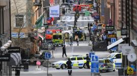 The street scene after the truck attack in Stockholm