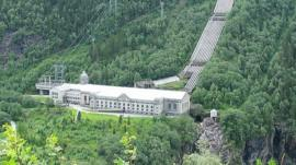La planta de energía hidroeléctrica Vemork, en Rjukan, Telemark, Noruega