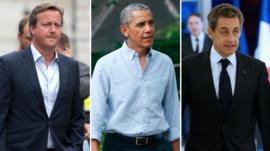 David Cameron, Barack Obama, Nicolas Sarkozy