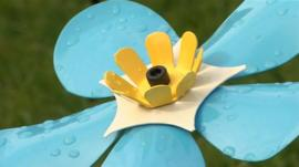 A handmade forget-me-not flower in Shrewsbury