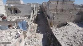 Drone footage shows destruction in Aleppo