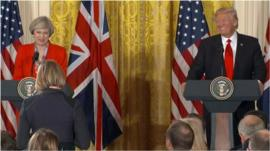 US President Donald Trump jokes about the state of the special relationship after a tough question.