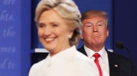 Hillary Clinton and Donald Trump at debate