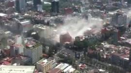 Buildings in smoke in Mexico.