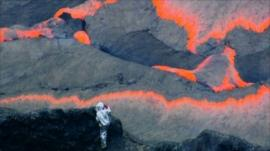 A scientist at Mount Nyiragongo