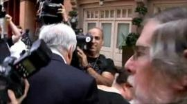 Dominique Strauss-Kahn leaving his NY apartment
