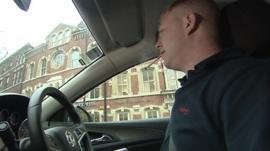 Driver smoking in car