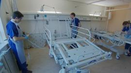 Bed cleaning at Queen Alexandra Hospital in Portsmouth