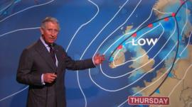 Prince Charles presents the weather forecast