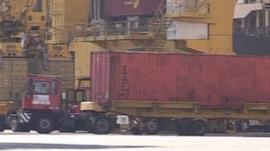 A truck carrying goods.