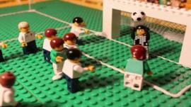 Football match recreated in Lego