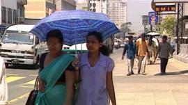 Pedestrians in Colombo, Sri Lanka