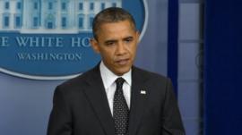 President Barack Obama speaks at a White House press briefing