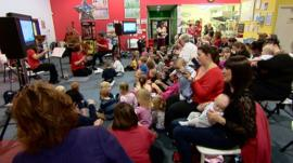Parents and children with members of the RSNO