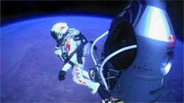 Felix Baumgartner jumping from the edge of space.