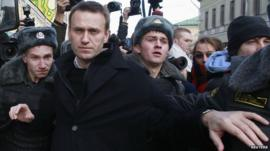 Russian opposition leader Alexei Navalny is detained by police during a protest march in Moscow October, 2012