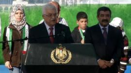 Palestinian President Mahmoud Abbas making a speech in Ramallah