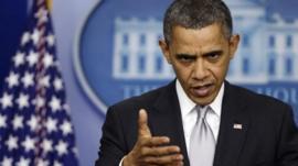 President Obama speaking about gun law reform, Washington (19 Dec)