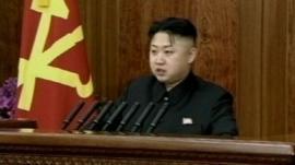 Kim Jong-un at podium