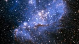 Detail of Nasa image of embryonic stars in the Small Magellanic Cloud, a companion galaxy of our Milky Way