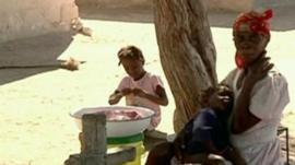Woman and children in Haiti